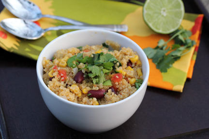 spicy quinoa 2 Spicy Quinoa with Kidney Beans, Corn and Lime