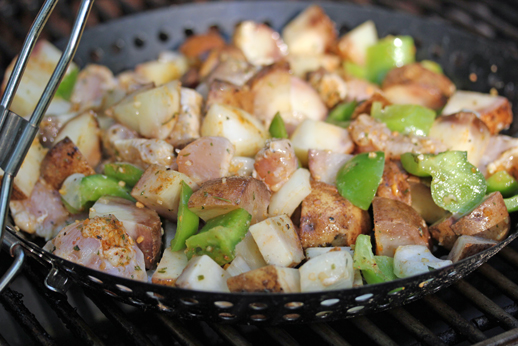 chicken grill stirfry Chicken and Potato Stirfry on the Grill Recipe