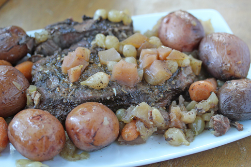 one dish dinner beef roast Slow Cooker Beef Roast with Apples, Carrots, Red Potatoes & Pearled Onions