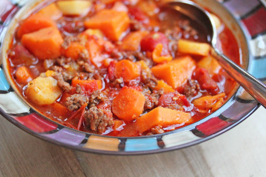 chili with winter vegetable Sweet Potato Recipe RoundUp